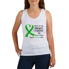 Support Twin Sister Green Ribbon Women's Tank Top