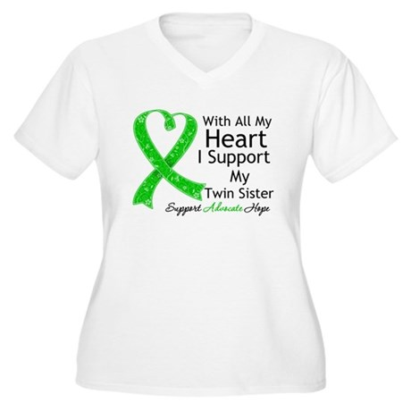 Support Twin Sister Green Ribbon Women's Plus Size