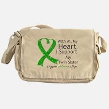 Support Twin Sister Green Ribbon Messenger Bag