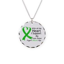 Support Twin Sister Green Ribbon Necklace