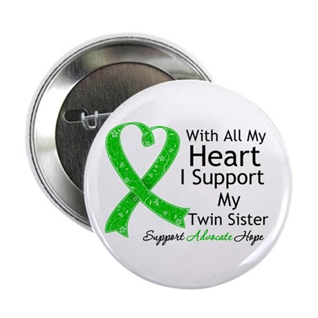 "Support Twin Sister Green Ribbon 2.25"" Button (10"