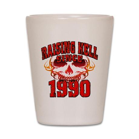 Raising Hell since 1990.png Shot Glass