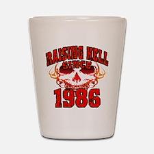 Raising Hell since 1986.png Shot Glass