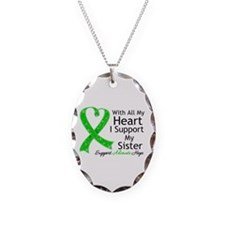 Support Sister Green Ribbon Necklace
