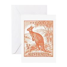 Australia 1949 Kangaroo Stamp Orange Greeting Card