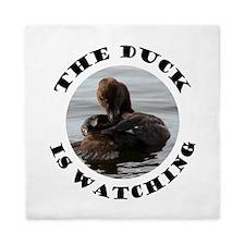 The Duck is Watching Queen Duvet