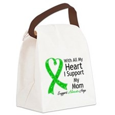 Support Mom Green Ribbon Canvas Lunch Bag