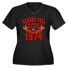 Raising Hell since 1974.png Women's Plus Size V-Ne