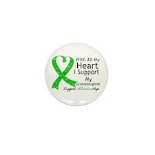 Granddaughter Green Ribbon Mini Button (10 pack)