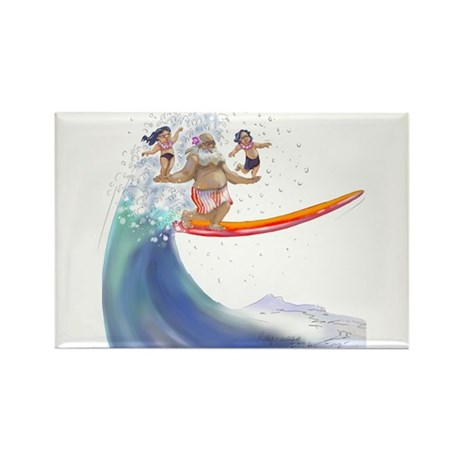 sUrFiN WiTh sAnTa Rectangle Magnet