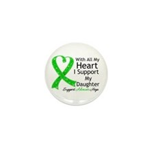 Support Daughter Green Ribbon Mini Button (10 pack