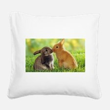 Love Bunnies Square Canvas Pillow