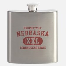 Property of Nebraska the Cornhuskers State Flask