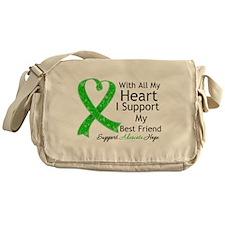 Best Friend Green Ribbon Messenger Bag