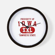 Property of Iowa the Hawkeye State Wall Clock