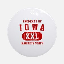 Property of Iowa the Hawkeye State Ornament (Round