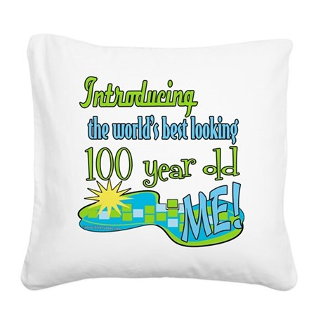 Introducing100 copy.png Square Canvas Pillow