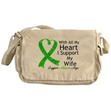 Support Wife Green Ribbon Messenger Bag