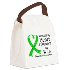Support Wife Green Ribbon Canvas Lunch Bag
