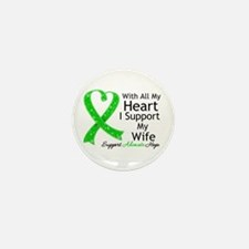 Support Wife Green Ribbon Mini Button (10 pack)