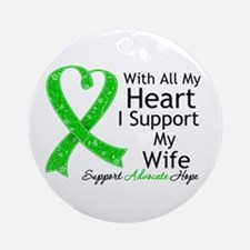 Support Wife Green Ribbon Ornament (Round)