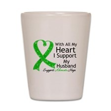 Support Husband Green Ribbon Shot Glass