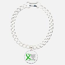 Support Husband Green Ribbon Bracelet