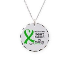 Support Husband Green Ribbon Necklace