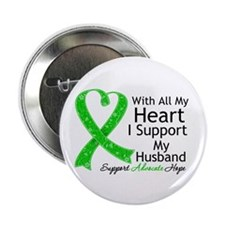 "Support Husband Green Ribbon 2.25"" Button"
