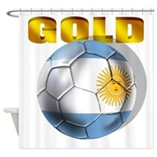 Argentina Soccer Gold Shower Curtain