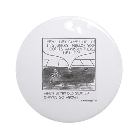 Blindfold Scooter Ornament (Round)