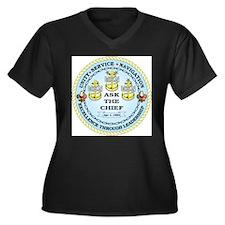 US Navy Chief Women's Plus Size V-Neck Dark T-Shir
