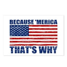 BECAUSE MERICA THATS WHY Postcards (Package of 8)