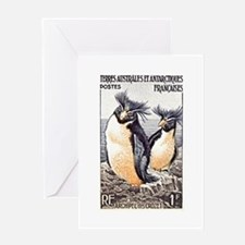 French Antarctica Penguin Stamp 1956 Greeting Card