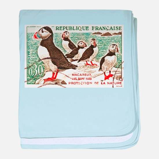 Cute Atlantic puffin baby blanket