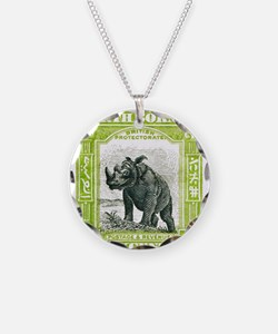 Unique Rhinoceros Necklace Circle Charm