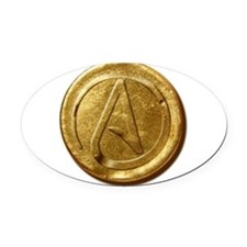 Atheist Gold Coin Oval Car Magnet