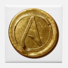 Atheist Gold Coin Tile Coaster
