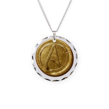 Atheist Gold Coin Necklace Circle Charm