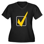 Check Mark Women's Plus Size V-Neck Dark T-Shirt