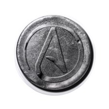 "Atheist Silver Coin 3.5"" Button (100 pack)"