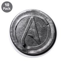 "Atheist Silver Coin 3.5"" Button (10 pack)"