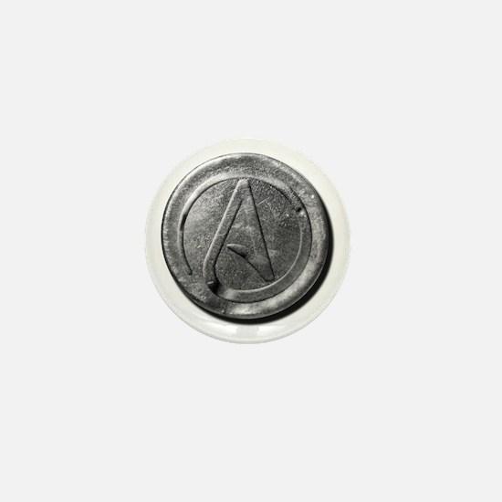Atheist Silver Coin Mini Button