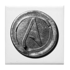 Atheist Silver Coin Tile Coaster