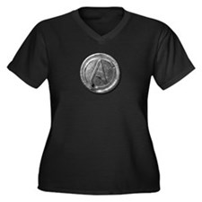 Atheist Silver Coin Women's Plus Size V-Neck Dark