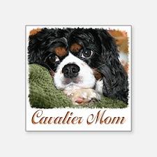 "Cavalier Mom Square Sticker 3"" x 3"""