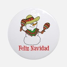 Feliz Navidad Snowman Ornament (Round)