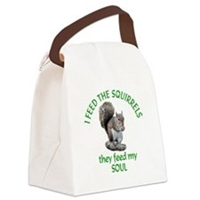 Squirrel Feeder Canvas Lunch Bag