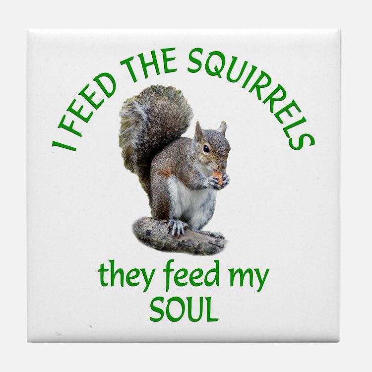 Squirrel Feeder Tile Coaster