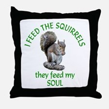 Squirrel Feeder Throw Pillow